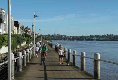 The bike path has to be shared with the walkers and joggers, but there's no hurry.