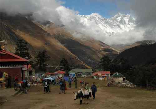 It's all go at Tyangboche Monastery, Nepal. But wait, what's that I see through the break in the cloud?