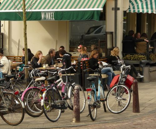 Bikes and Cafe Winkel's Dutch appeltaart. I'm looking forward to both.
