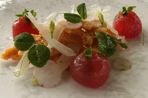 Peter Gilmore's salad of yellowfin tuna. Those things that look like baby tomatoes are made of fish.