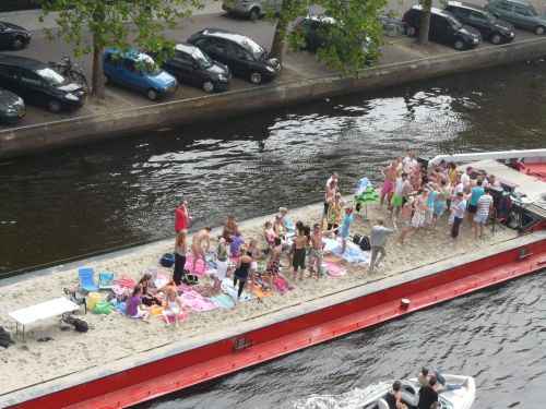 Party time on a sand barge.