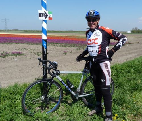 Any time you see tulips you have to pose in front of them. It takes your mind off kilometres 103 to 109, into a nasty headwind.