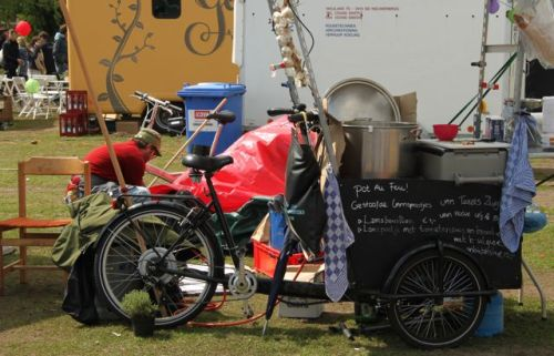Lamb from Texel Island cooked on a bike.