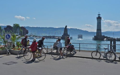 Lindau Harbour. The boats coming and going these days are nearly all tour ships, though it's still worth watching them.