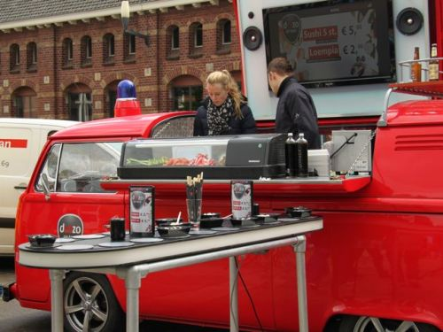 The mobile sushi wagon, complete with conveyor belt.