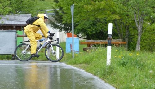 No such thing as bad weather, only bad cycling clothing. But I'm glad this isn't me.