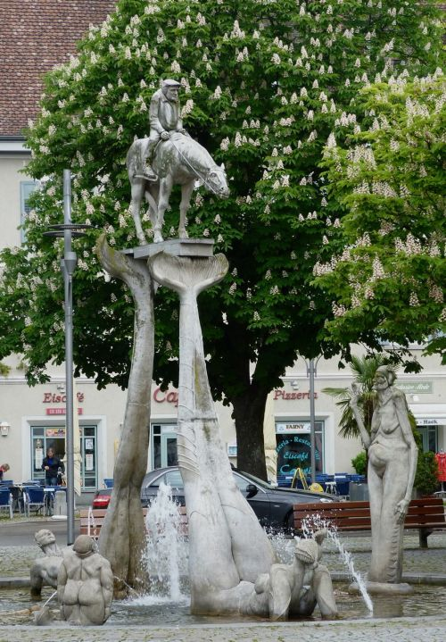 Peter Lenk fountain, Uberlingen.