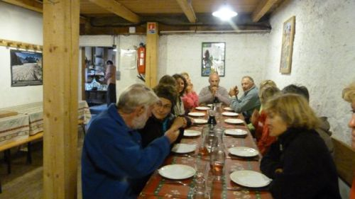Dinner in La Vacherie - an old cow shed converted to  a hikers' refuge.