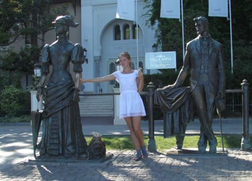 You can pose with Chekhov and his lady with the dog. He came to Yalta for his health and called it his 'warm Siberia'.