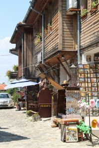 Nessebar houses,attractive  wood above, stone (and souvenir shop) below.