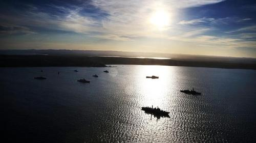 Naval ships anchored of Creswell, Jervis Bay. Photo: News Limited
