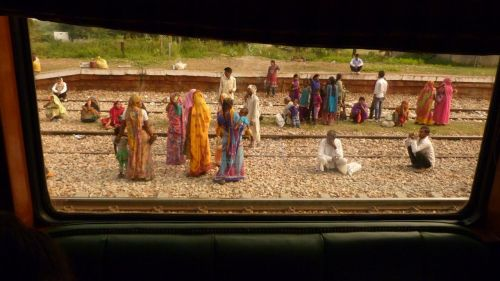 Fellow passengers wait for their train at Fatehpur Sikri.