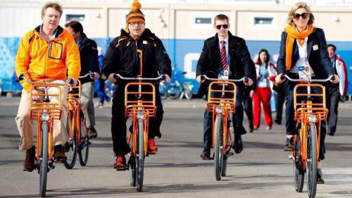 Dutch King Willem Alexander and Queen Maxima on their way to watch the speedskating in Sochi.