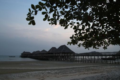 Telunas Beach Resort at dusk.