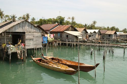 Pancung boats at Jaga Island village.