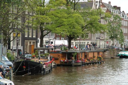 Houseboats on an Amsterdam canal.