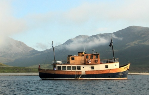 The converted Scottish fishing boat in its natural habitat.