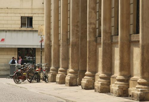 Columns are handy bike parking spots.