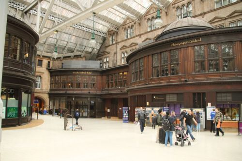 Glasgow Central Station. All that polished wood.