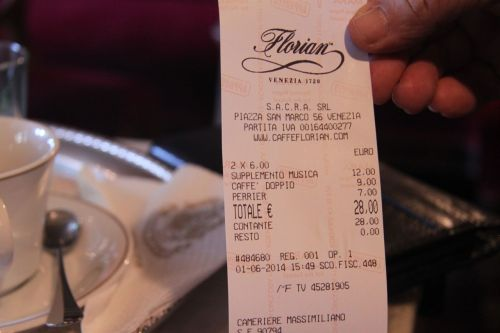 Here's the damage. 28 euros for a double espresso and a 200ml bottle of Perrier.