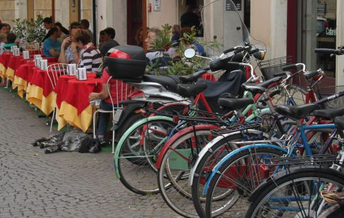 Avoid that tiresome stroll to the cafe; take a bike instead.