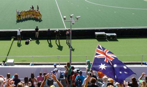 The flag flies after an Aussie win.