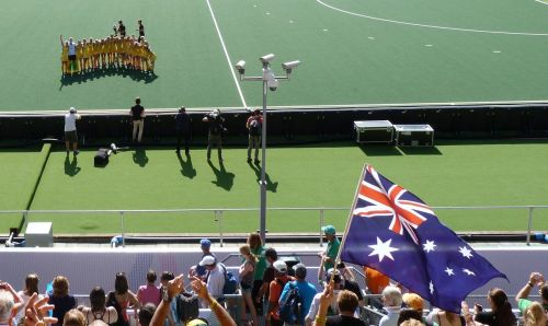 The flag flies after an Aussie win.