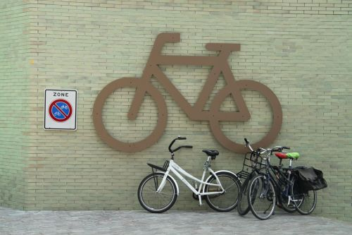 We weren't sure whether or not bike parking is legal here. The signs seem to be contradictory.