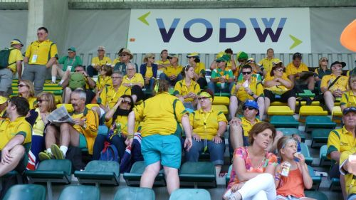 The Aussie fans are on the edges of their seats, partly because the seats are too small for our backsides.