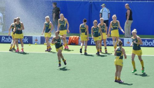 The Hockeyroos warm up for their semi-final...