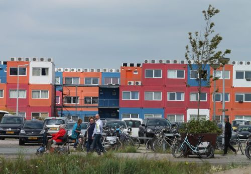 Student housing made from recycled containers at Amsterdam North.