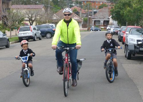 The grandsons and their father head off to school and work.