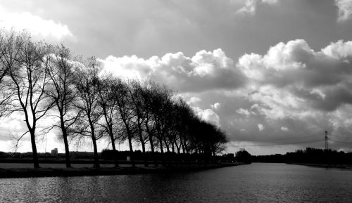 The North Holland Canal. The trees show which way the wind usually blows.