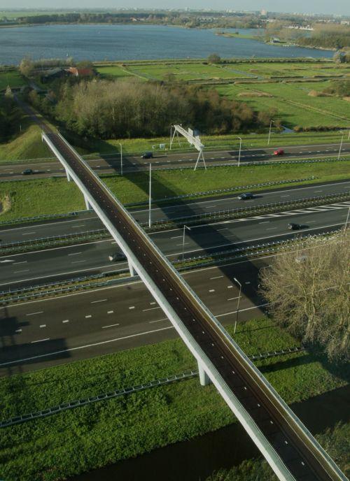 Not far out of Ouderkerk is this bike bridge across a busy motorway, allowing Dutch riders to reach the Ouderkerkplassen.