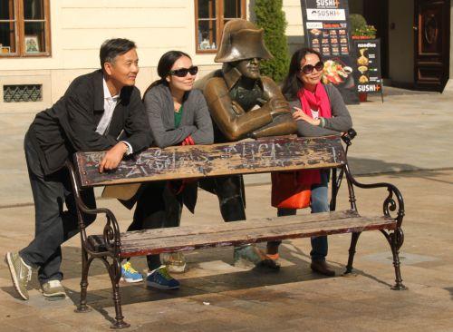 Hubert and friends, in Bratislava's main square.