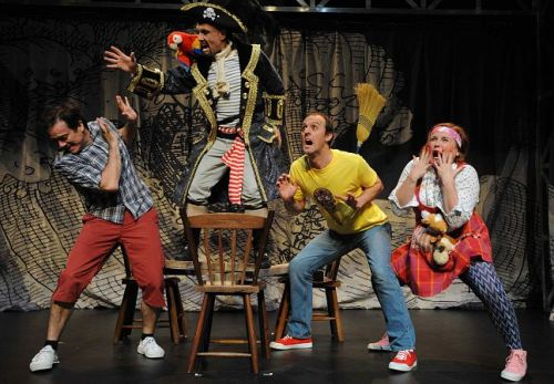The 26-Storey Treehouse cast in full flight. Matthew Lilley, James Lee, Andrew Johnston and Eliza Logan. Photo: Branco Gaia.