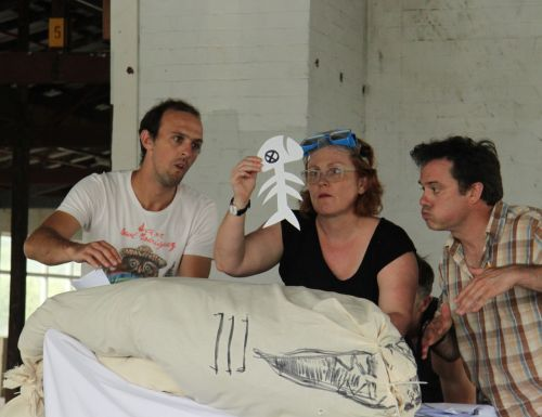 Rehearsing the open shark surgery scene with standby props. Andrew Johnston, Eliza Logan and Matthew Lilley.