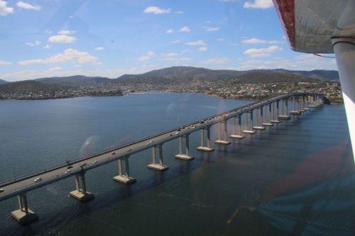 Leaving Hobart, with the Tasman Bridge below.