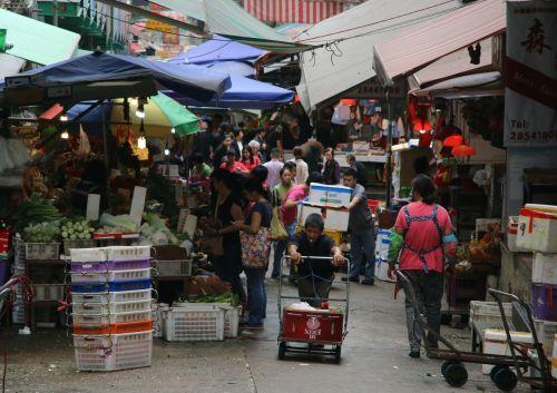Local vegetable market, Hong Kong Central.
