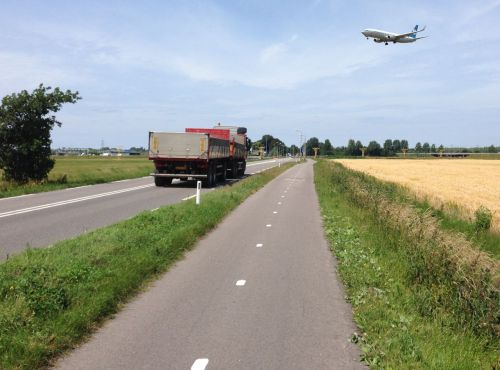 Bring it on! Trucks and planes are no bother.   I have my own cycle path.