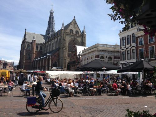 It's Market Day by the Grote Kerk. (Great Church)