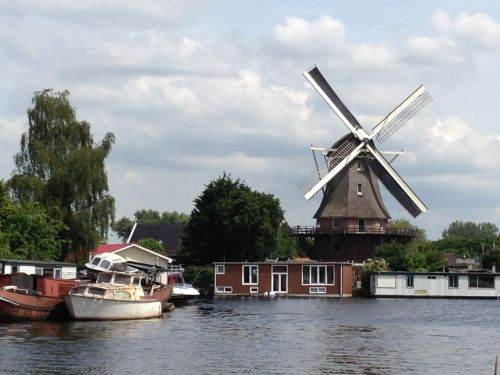 Of course, any Dutch bike ride needs to pass a windmill. This is the Molen van Sloten, which also features a barrel-making museum and statue of Rembrandt.