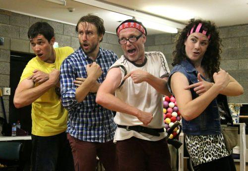 Luke Carson, John Shearman, James Lee and Freya Pragt rehearsing the automatic tattoo machine malfunction incident.