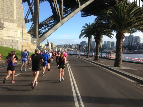 After a spectacular run across the car-free Sydney Harbour Bridge, we find ourselves passing under it. 13km down, 8 more to go. Starting to feel the pain barrier approaching.
