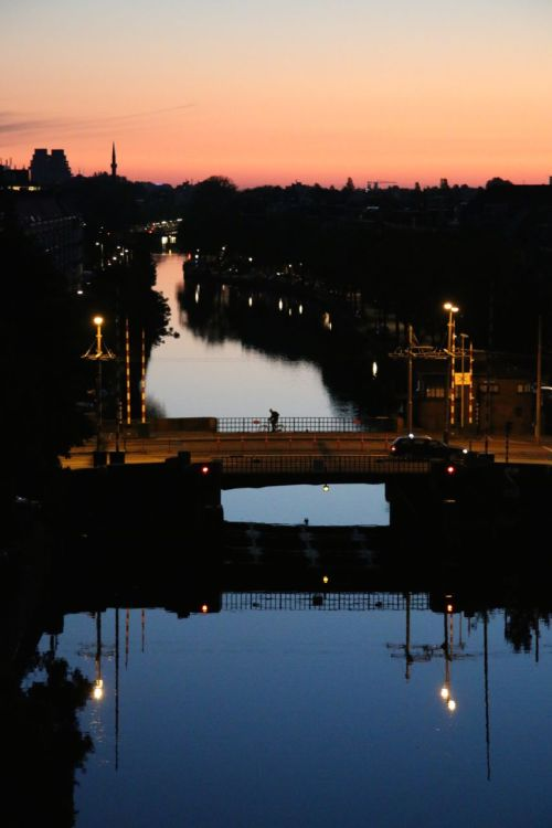 Dawn from the balcony of our apartment in Amsterdam isn't too bad either.